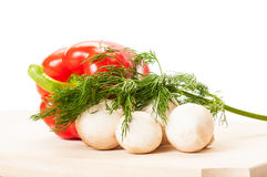 Red pepper, champignons and dill Royalty Free Stock Photography