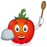 Red Pepper Character with Tray & Spoon Stock Photography