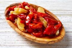 Red pepper and cod fish esgarraet tapas Stock Photos