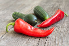 Red pepper and cucumber royalty free stock photos