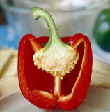 Red pepper cut in half Royalty Free Stock Photography