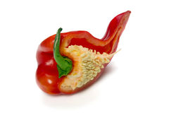 Red pepper cut in half. Red pepper  isolated on white background Stock Photos