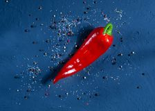 Red pepper on a dark blue surface against a background of spices, space for text, top view. Red pepper on a dark blue surface against a background of spices Royalty Free Stock Photo