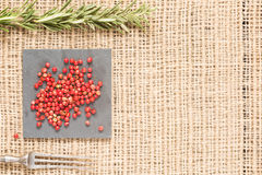 Red pepper on dark plates with rosemary and antique fork. Red peppercorns on dark plate with rosemary and antique fork. Rustic background. Warm color. With copy Stock Image