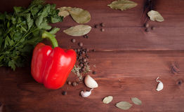 Red pepper on dark wood background with herbs Royalty Free Stock Photos