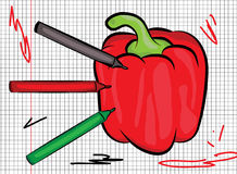 Red pepper drawn on paper illustration Royalty Free Stock Photography
