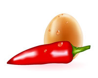 Red pepper and egg Royalty Free Stock Images