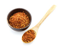 Red pepper flakes in wooden spoon Stock Images