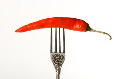 Red pepper on the fork Royalty Free Stock Images