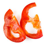 Red pepper. Fresh paprika slices isolated on white Royalty Free Stock Photography