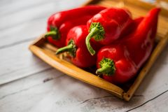 Red Pepper Fruits On White Wood Table Royalty Free Stock Image