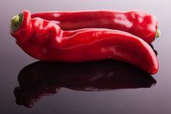 Red pepper. On the glass stock photo
