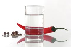 Red pepper with glass Stock Image