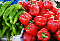 Red pepper and green pepper chilly fresh vegetable Stock Photography