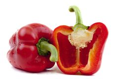 A red pepper and half of the pepper Stock Photo