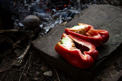 Red pepper in halves Stock Images