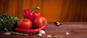 Red pepper, herbs and spices on dark wood. Table with orange background Royalty Free Stock Photo