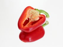 Red pepper incision  on the mirror Royalty Free Stock Images
