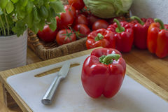 Red pepper in the kitchen Stock Images