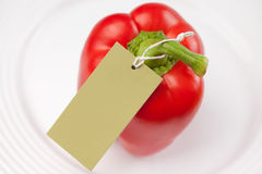 Red pepper with label Royalty Free Stock Photo