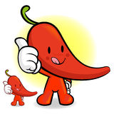 Red pepper Mascot the Left hand best gesture. Vegetable Characte Stock Photography