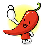 Red pepper Mascot the Right hand best gesture. Vegetable Charact Stock Photos