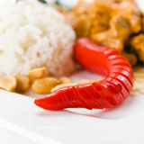 Red pepper with meat and rice Stock Images