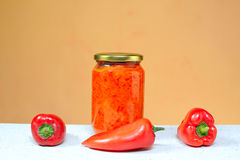 Red pepper for nutrition in a jar of glass Stock Photo