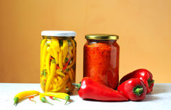 Red pepper for nutrition in a jar of glass Stock Photography