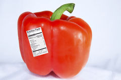 Red Pepper with Nutrition Label Royalty Free Stock Image