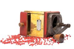 The Red pepper with old pepper mill. Red pepper with old pepper mill Stock Photo