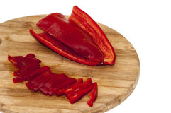 Red pepper paprika cut into strips Royalty Free Stock Images