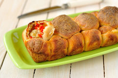 Red pepper and potato monkey bread, selective focus Royalty Free Stock Photo