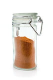 Red pepper powder in jar Royalty Free Stock Photo