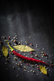 Red pepper pungent spices and bay leaf on the black tree. View from above. Space for text royalty free stock images
