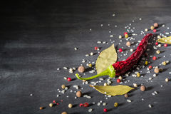 Red pepper pungent spices and bay leaf on the black tree. View from above. Space for text stock photography