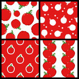 Red Pepper Seamless Patterns Set Royalty Free Stock Image