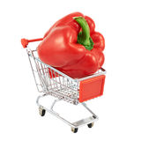Red pepper in a shipping cart Royalty Free Stock Images