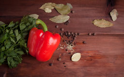 Red pepper and spices on wood desk. Red pepper with herbs and spices on wood desk Royalty Free Stock Image