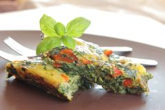 Two pieces of frittata Stock Image