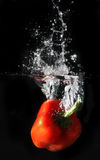 Red pepper splash. Isolated in black Royalty Free Stock Photography