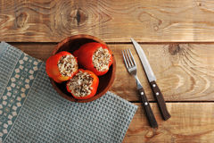 Red pepper stuffed with rice and meat Stock Photos