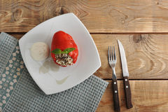 Red pepper stuffed with rice and meat Stock Images