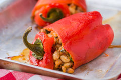 Red pepper stuffed with white beans Royalty Free Stock Photography