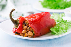 Red pepper stuffed with white beans Royalty Free Stock Photo
