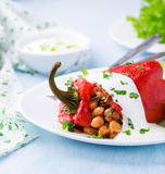 Red pepper stuffed with white beans Royalty Free Stock Photos