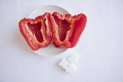 Red pepper and sugar Royalty Free Stock Images
