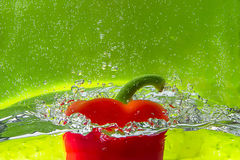 Red pepper. Sweet red pepper in water Stock Images