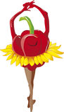 Red pepper swing. Red pepper dance with sunflower dress stock illustration