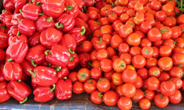 Red pepper and tomato. When hot pepper and tomato maturity, their colors turn red stock photo